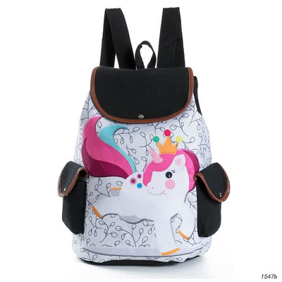 Unicorn Drawing Design Canvas Backpack