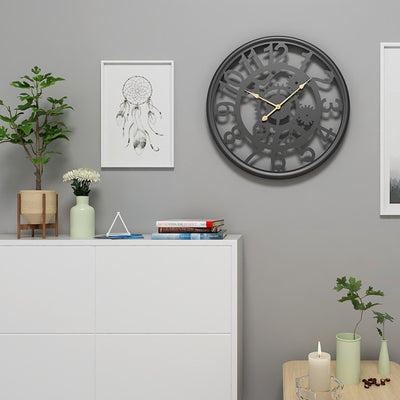 Cogs & Gears Wrought Iron Clock