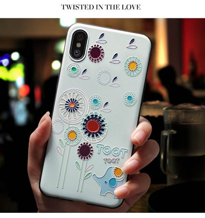 3D EMBOSS CARTOON PATTERNED PHONE CASE