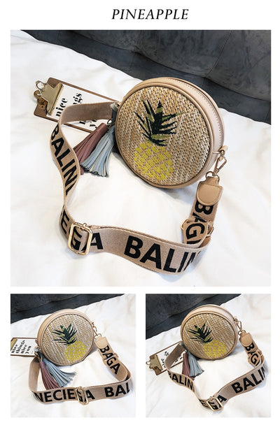 2019 Summer Embroidered Round Straw Bag