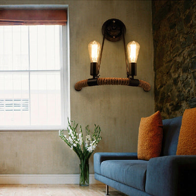 Hemp Rope Decor Wall Lamp