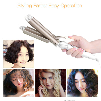 Triple Barrel Ceramic Hair Curling Iron