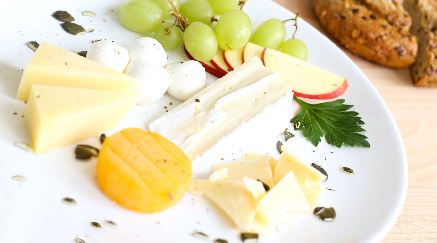 plate of various cheeses