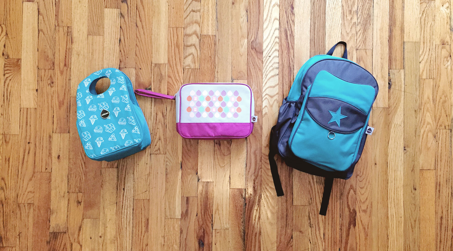 Stöh Insulated lunch tote, Popdots Go Pouch, Top Kat backpack