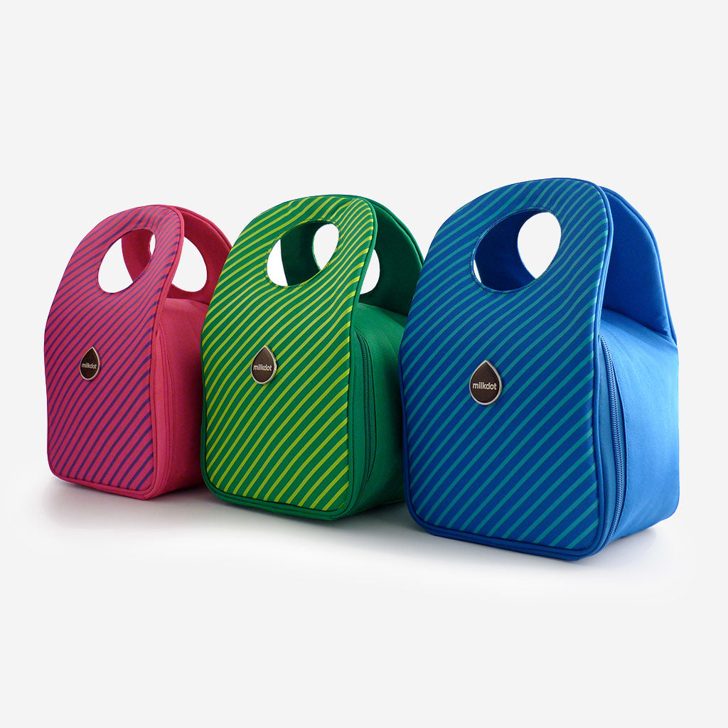 Pink, green and blue Milkdot stripe lunch boxes.