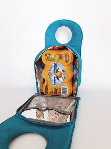 Milkdot lunch tote with six soda cans inside