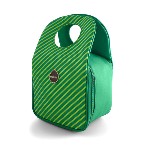 Insulated lunch bag in green apple stripes