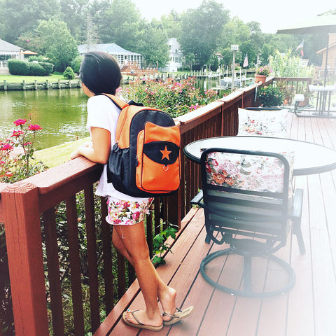 milkdot topkat backpack orange with girl