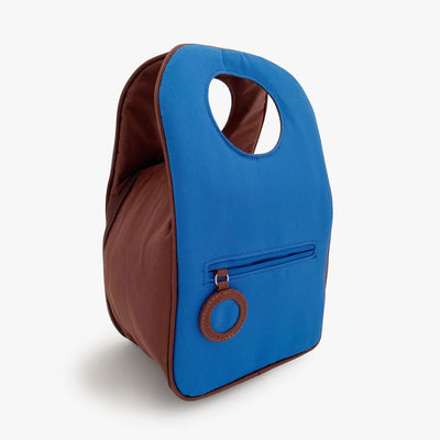 Milkdot blue insulated lunch bag back.