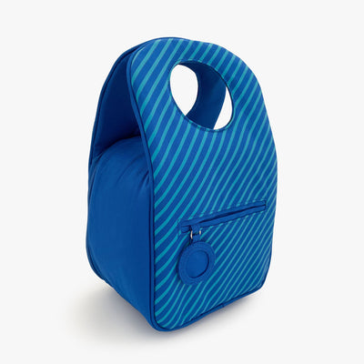 Milkdot blueberry stripe insulated lunch bag back.