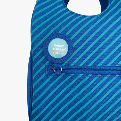 Milkdot blueberry stripe insulated lunch bag with lunch note.