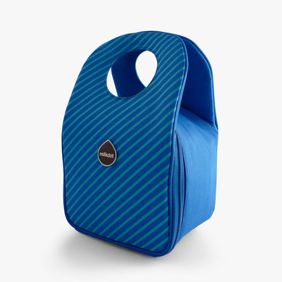Milkdot blueberry stripe insulated lunch bag.