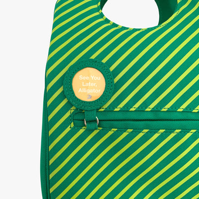 Milkdot green stripe lunch bag with lunch note and back pocket.