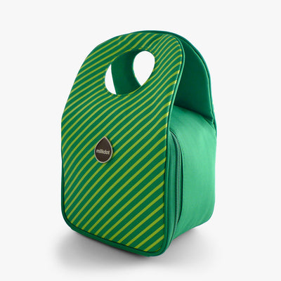 Milkdot green stripe insulated lunch bag.