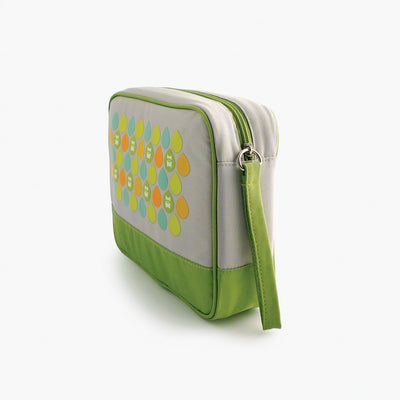 Milkdot lime travel toiletry bag side view.