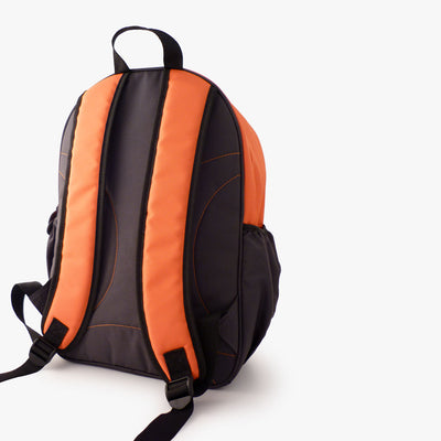 Back of Milkdot orange and grey kids backpack.