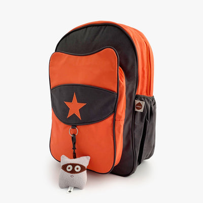 Orange and grey kids backpack with grey plush keychain.
