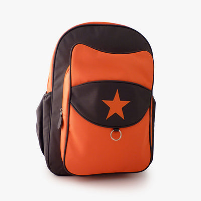 Orange and grey kids backpack by Milkdot.