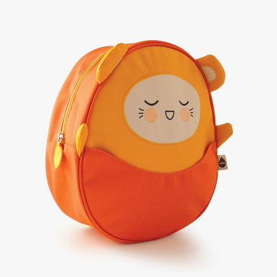 Milkdot orange toddler backpack side view.