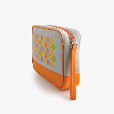 Milkdot orange toiletry bag side view.
