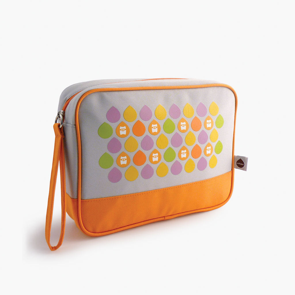 Milkdot orange travel toiletry bag.