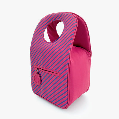 Milkdot pink stripe insulated lunch bag back.