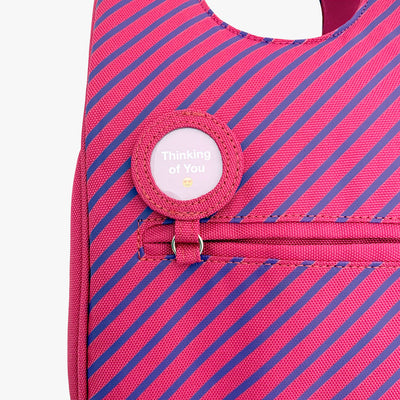 Milkdot pink stripe lunch bag with lunch note and back pocket.