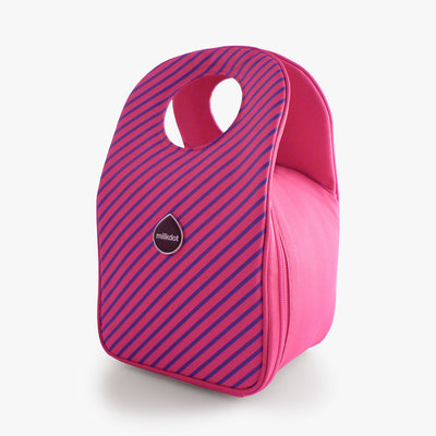 Milkdot pink stripe insulated lunch bag.