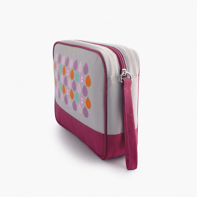 Milkdot plum travel toiletry bag side view.