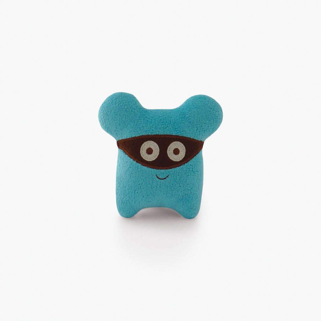 Milkdot blue Koaro plush toy keychain.