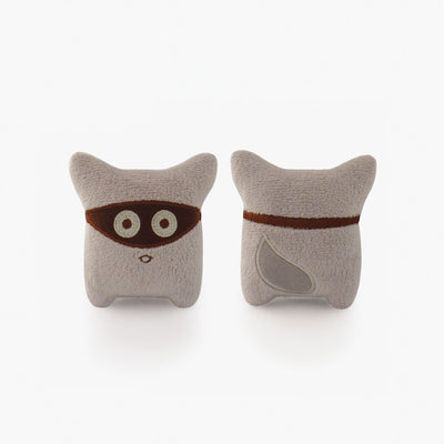 Milkdot gray Wooro plush toy keychain.