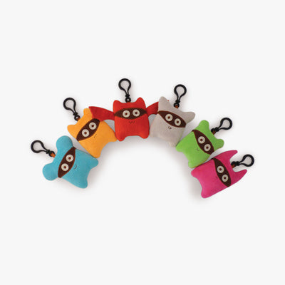 Six Milkdot plush toy keychains.