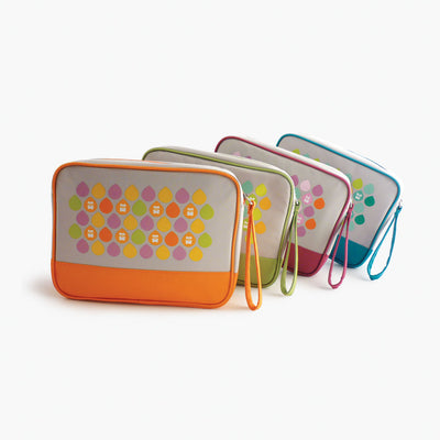 Four Milkdot travel toiletry bags.