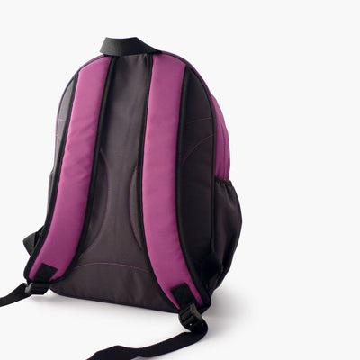 Backside of purple and grey kids backpack by Milkdot.