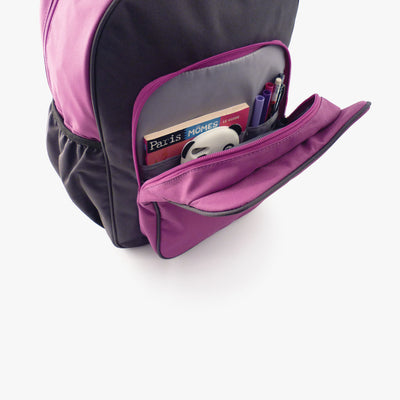Open pocket view of purple and grey kids backpack by Milkdot.