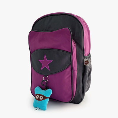 Purple and grey kids backpack by Milkdot with blue plush keychain.