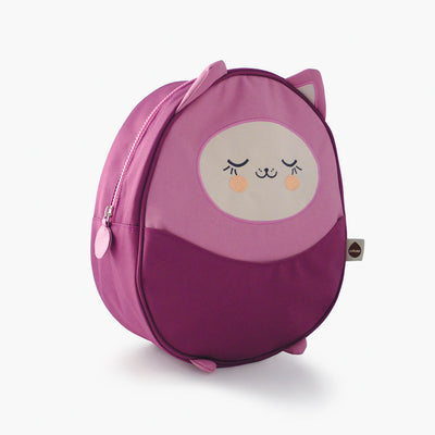 Milkdot purple toddler backpack side view.