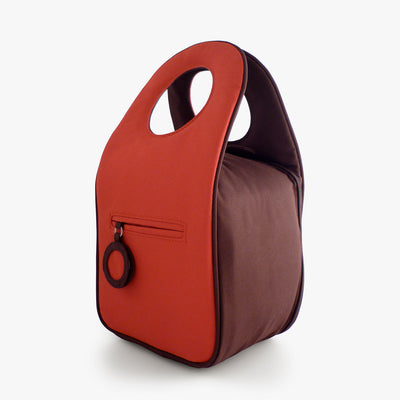 Milkdot red insulated lunch bag back.