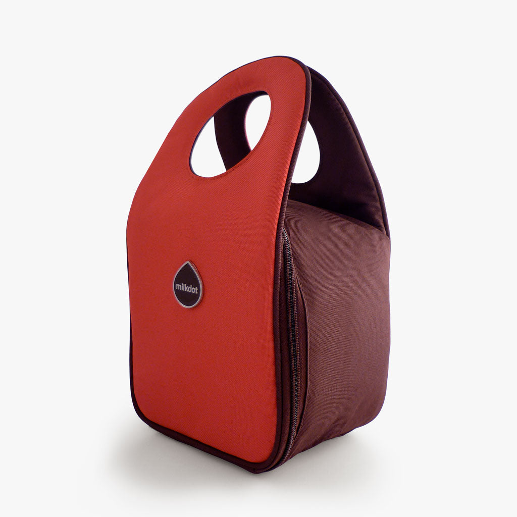 Milkdot red insulated lunch bag.