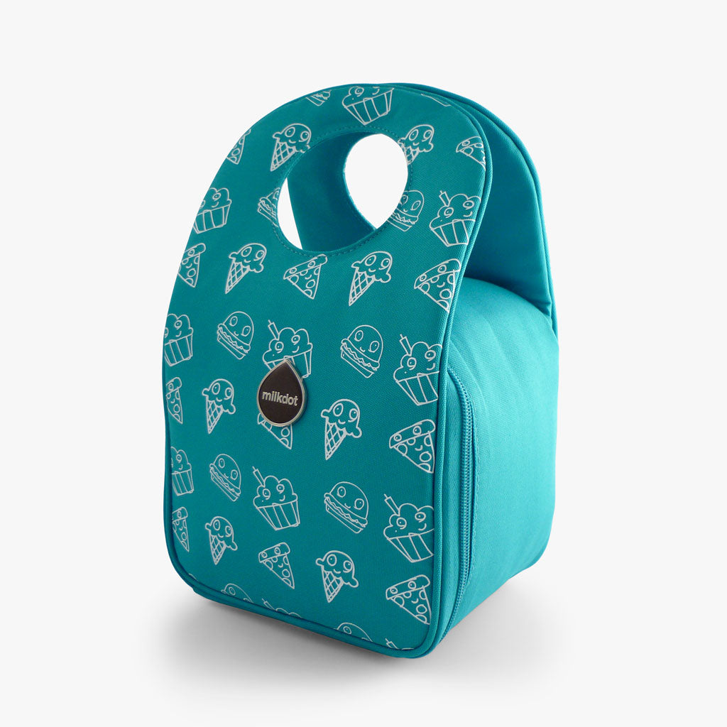 Milkdot blue lunch bag with Snackmates print.