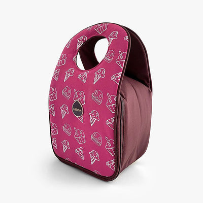 Lunch bag with Snackmates Plum print by Milkdot.