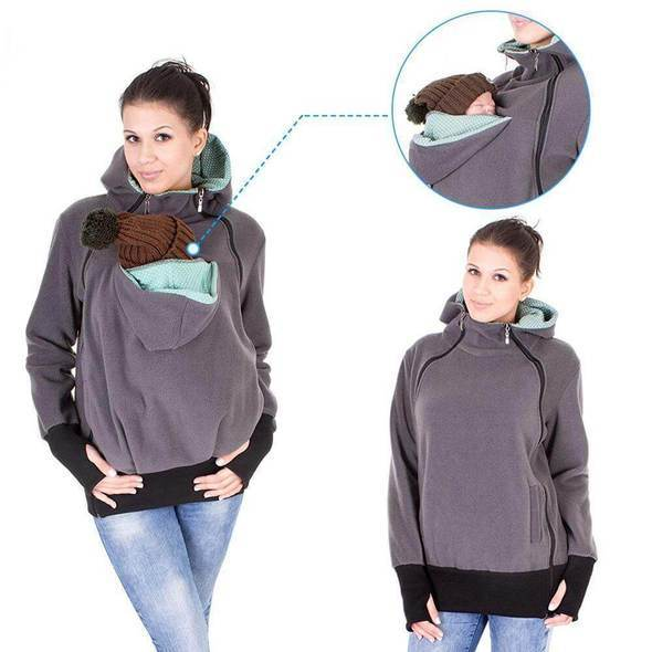 Mother Hoodie, Multi-function Kangaroo Hoodie Maternity Carrier Baby Holder