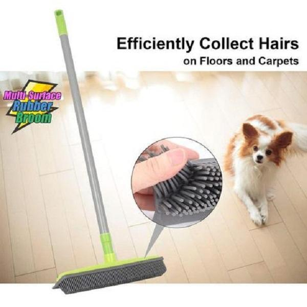 Broom with Squeegee made from Natural Rubber, Multi-Surface and Pet Hair Removal