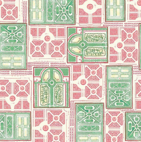Michael Miller. Garden Landscapes. Green Pink Fabric