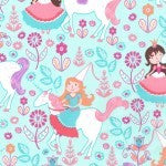 Michael Miller Unicorn Princess Blue Fabric