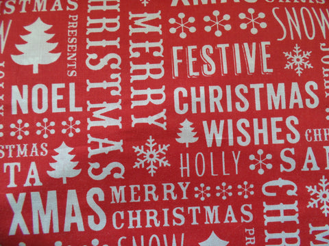 Christmas Fabric Poly Cotton - Seasons Greetings