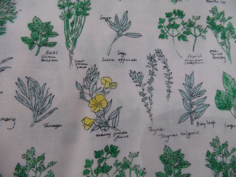 Makower Inprint Herbs with Names Green Fabric