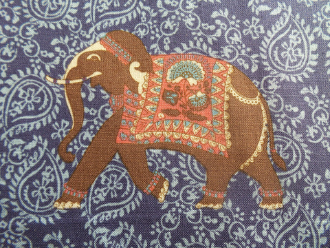 Inprint by Jane Makower Elephants Blue Fabric