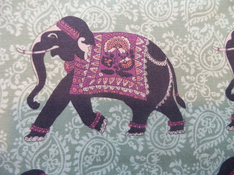 Inprint by Jane Makower Elephants Green Fabric