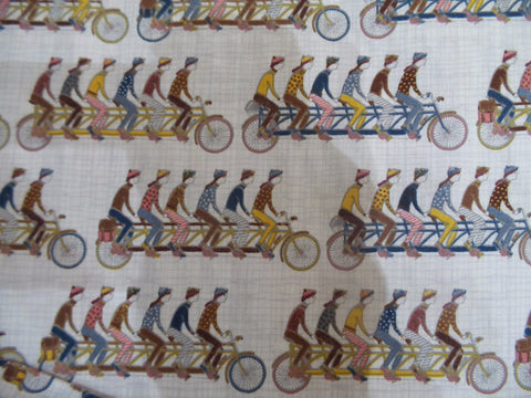 Inprint Cyclists Grey white Fabric